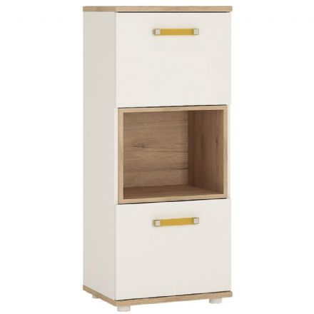 4KIDS 2 door narrow cabinet with open shelf in light oak and white high gloss with orange handles